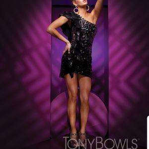 Tony Bowls TS11186 black sequin cocktail dress